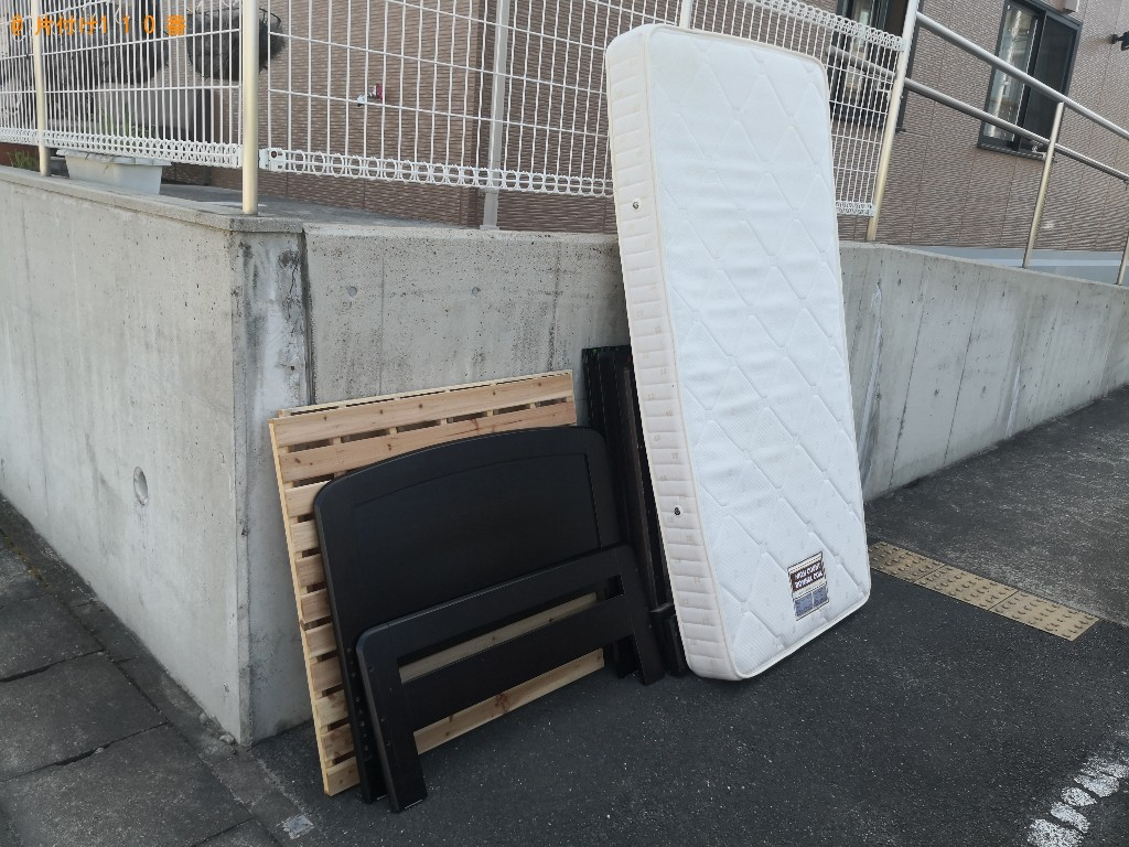【奈良市西大寺国見町】シングルベッド、ベッドマットレスの回収