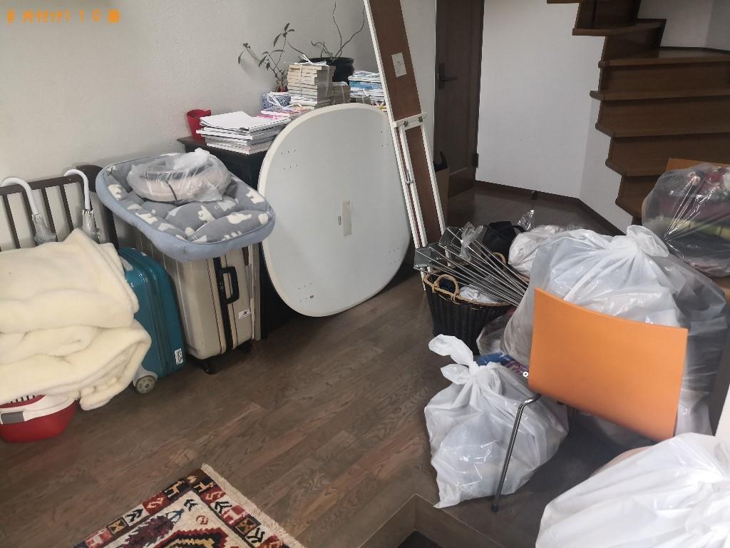 【生駒市】ガラステーブル、椅子、布団、スーツケース等の回収・処分